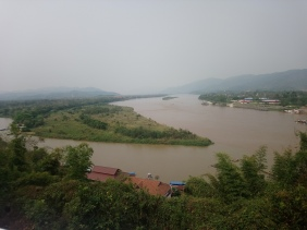 Thailand along the left and bottom, Myanmar on the triangle shaped land, and Laos over to the right
